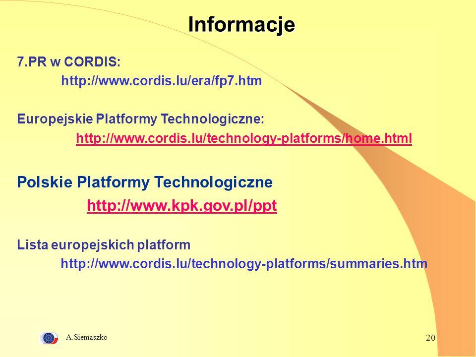 Informacje Polskie Platformy Technologiczne http://www.kpk.gov.pl/ppt