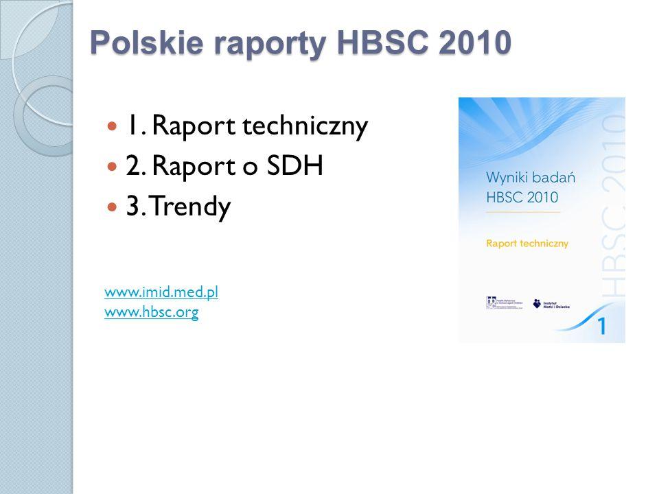 Polskie raporty HBSC 2010 1. Raport techniczny 2. Raport o SDH