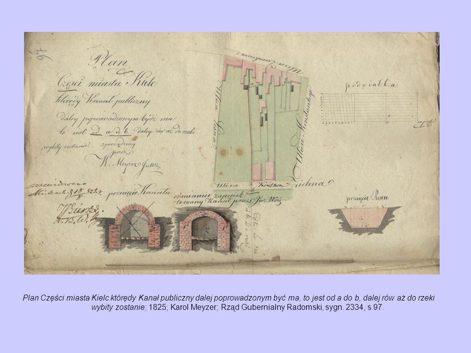 Plan Części miasta Kielc którędy Kanał publiczny dalej poprowadzonym być ma, to jest od a do b, dalej rów aż do rzeki wybity zostanie; 1825; Karol Meyzer; Rząd Gubernialny Radomski, sygn.