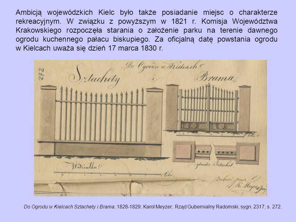 Ambicją wojewódzkich Kielc było także posiadanie miejsc o charakterze rekreacyjnym. W związku z powyższym w 1821 r. Komisja Województwa Krakowskiego rozpoczęła starania o założenie parku na terenie dawnego ogrodu kuchennego pałacu biskupiego. Za oficjalną datę powstania ogrodu w Kielcach uważa się dzień 17 marca 1830 r.