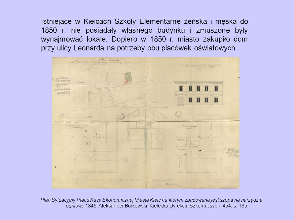 Istniejące w Kielcach Szkoły Elementarne żeńska i męska do 1850 r