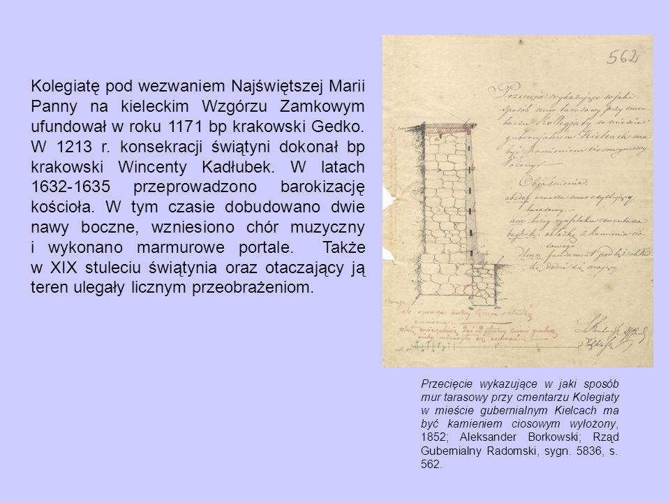 Kolegiatę pod wezwaniem Najświętszej Marii Panny na kieleckim Wzgórzu Zamkowym ufundował w roku 1171 bp krakowski Gedko. W 1213 r. konsekracji świątyni dokonał bp krakowski Wincenty Kadłubek. W latach 1632-1635 przeprowadzono barokizację kościoła. W tym czasie dobudowano dwie nawy boczne, wzniesiono chór muzyczny i wykonano marmurowe portale. Także w XIX stuleciu świątynia oraz otaczający ją teren ulegały licznym przeobrażeniom.