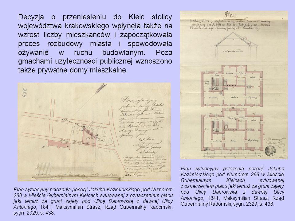 Decyzja o przeniesieniu do Kielc stolicy województwa krakowskiego wpłynęła także na wzrost liczby mieszkańców i zapoczątkowała proces rozbudowy miasta i spowodowała ożywanie w ruchu budowlanym. Poza gmachami użyteczności publicznej wznoszono także prywatne domy mieszkalne.