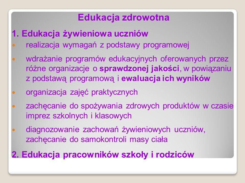 Edukacja zdrowotna 1. Edukacja żywieniowa uczniów