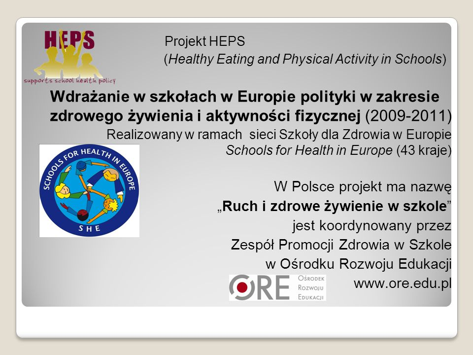 Projekt HEPS (Healthy Eating and Physical Activity in Schools)