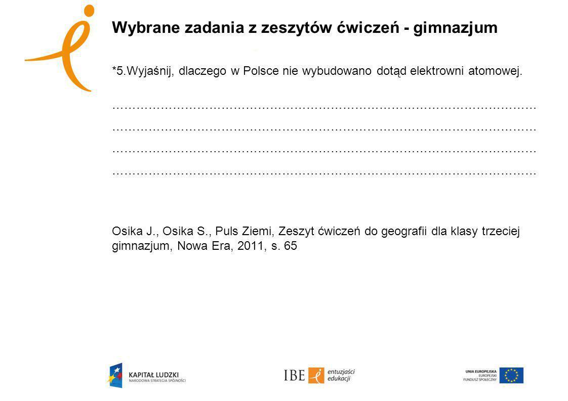 Wybrane zadania z zeszytów ćwiczeń - gimnazjum