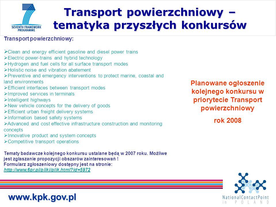 Transport powierzchniowy – tematyka przyszłych konkursów