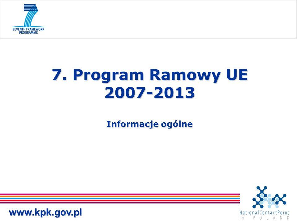 7. Program Ramowy UE 2007-2013 Informacje ogólne