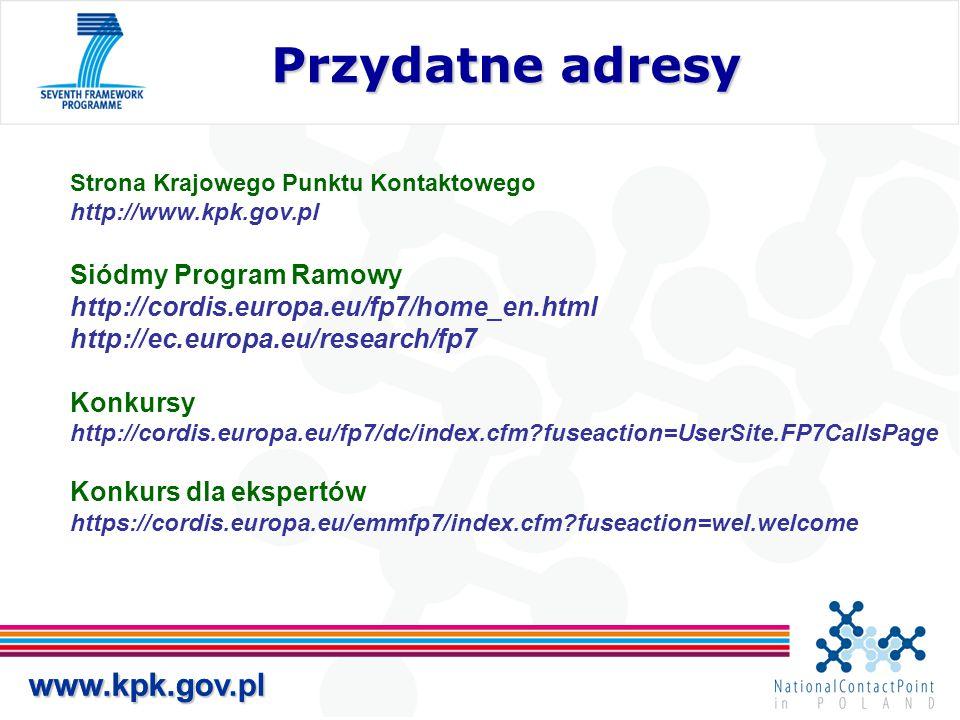 Przydatne adresy www.kpk.gov.pl www.kpk.gov.pl Siódmy Program Ramowy