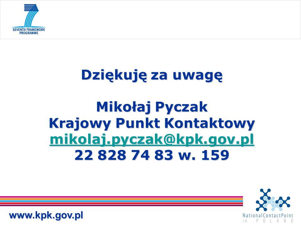 Dziękuję za uwagę Mikołaj Pyczak Krajowy Punkt Kontaktowy mikolaj