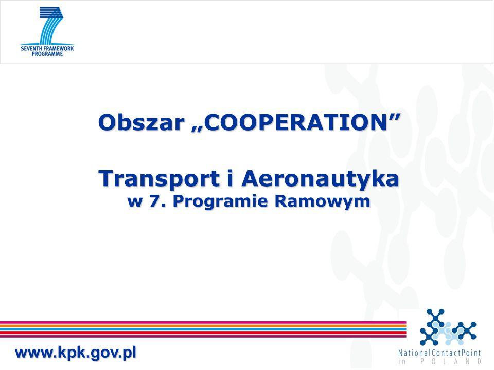 """Obszar """"COOPERATION Transport i Aeronautyka w 7. Programie Ramowym"""