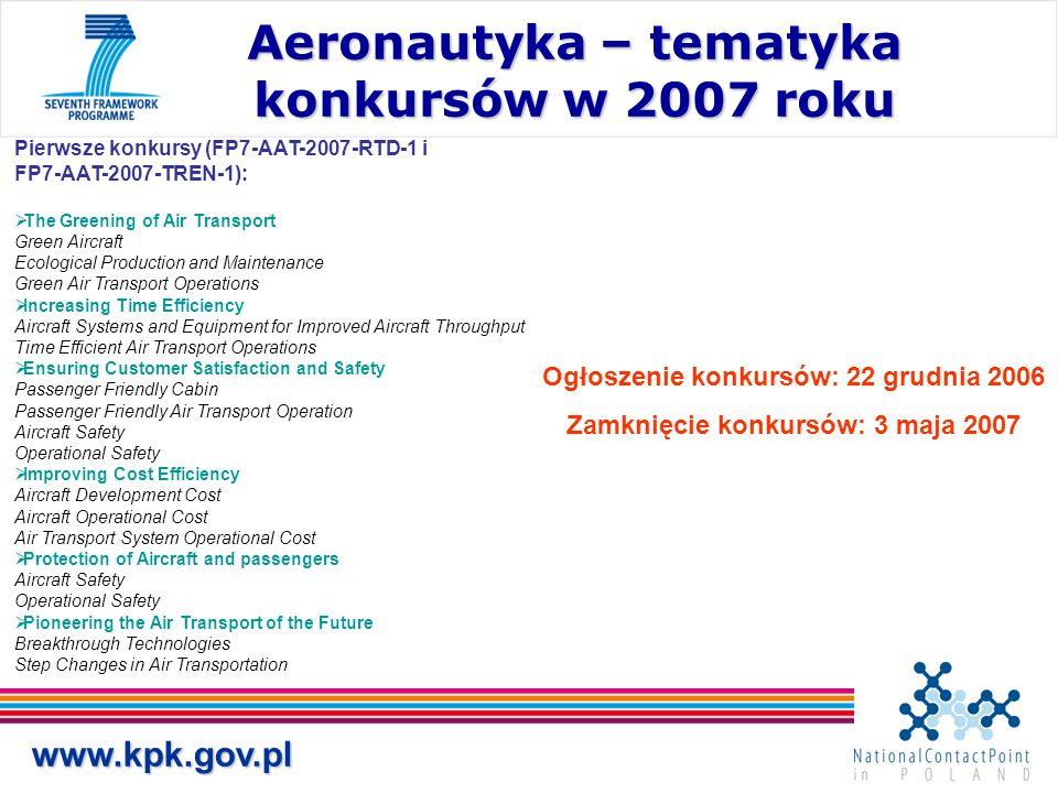 Aeronautyka – tematyka konkursów w 2007 roku