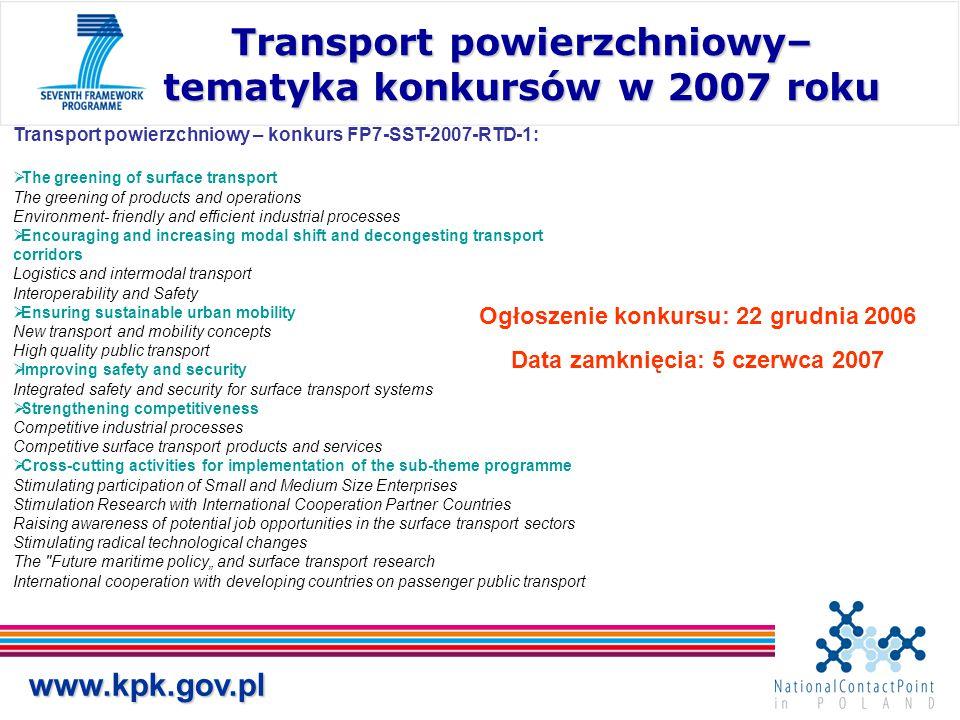 Transport powierzchniowy– tematyka konkursów w 2007 roku