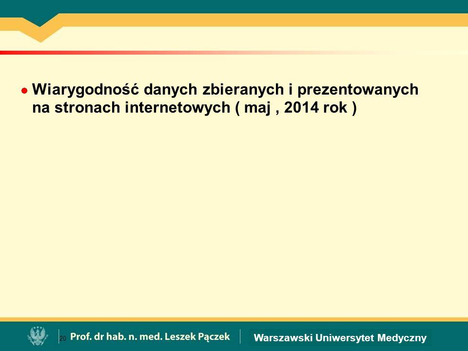 Wiarygodność danych zbieranych i prezentowanych na stronach internetowych ( maj , 2014 rok )
