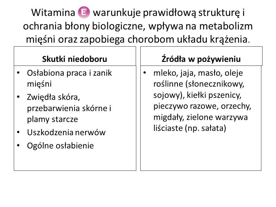 Witamina Ek warunkuje prawidłową strukturę i ochrania błony biologiczne, wpływa na metabolizm mięśni oraz zapobiega chorobom układu krążenia.