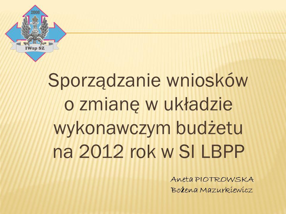 Sporządzanie wniosków o zmianę w układzie wykonawczym budżetu na 2012 rok w SI LBPP