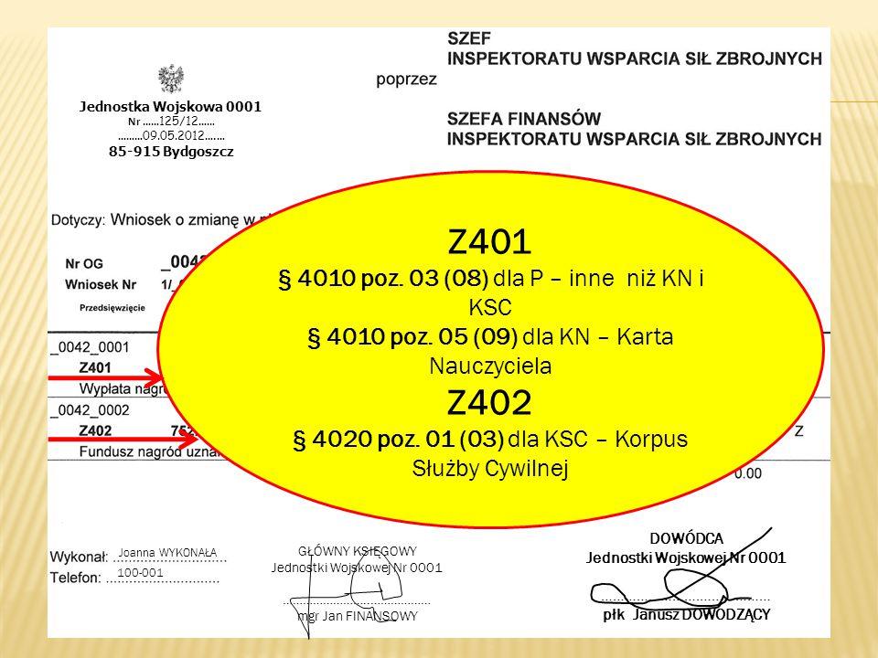 Z401 Z402 § 4010 poz. 03 (08) dla P – inne niż KN i KSC