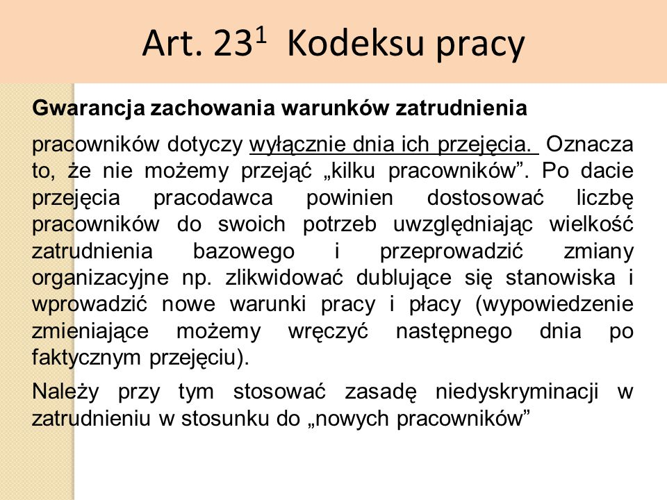 Art. 231 Kodeksu pracy Gwarancja zachowania warunków zatrudnienia