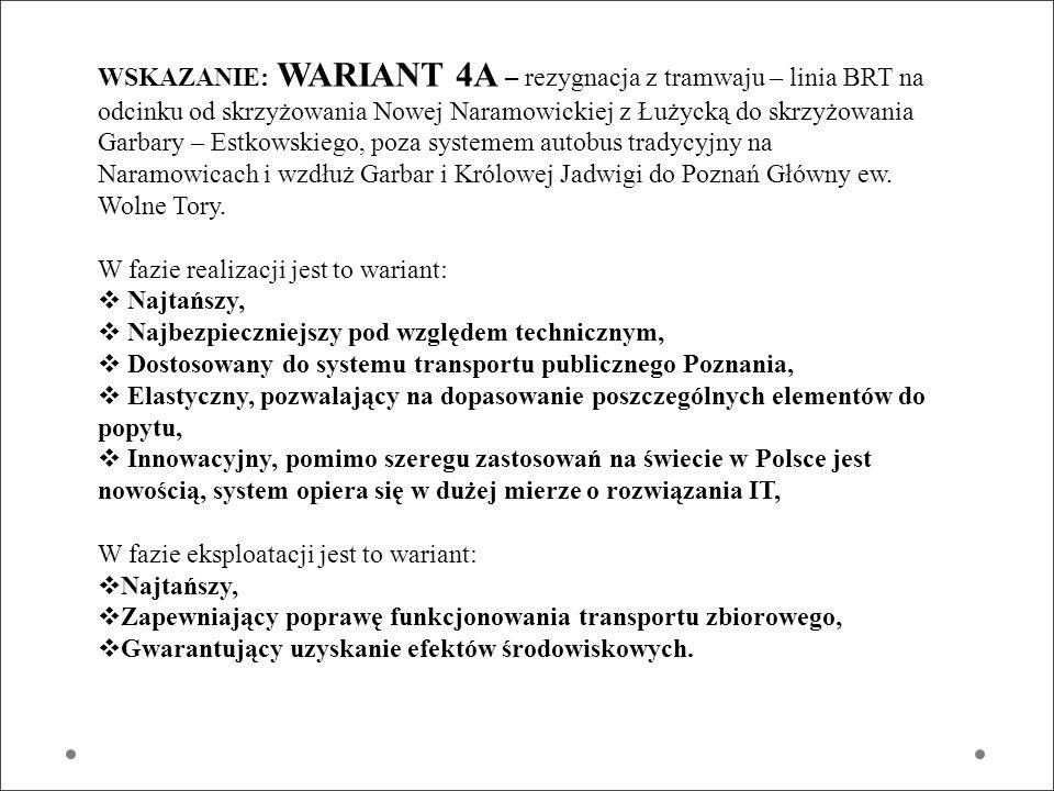 WSKAZANIE: WARIANT 4A – rezygnacja z tramwaju – linia BRT na odcinku od skrzyżowania Nowej Naramowickiej z Łużycką do skrzyżowania Garbary – Estkowskiego, poza systemem autobus tradycyjny na Naramowicach i wzdłuż Garbar i Królowej Jadwigi do Poznań Główny ew. Wolne Tory.