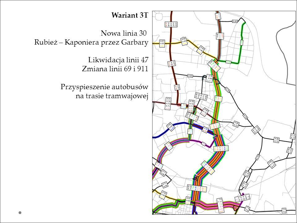 Wariant 3T Nowa linia 30. Rubież – Kaponiera przez Garbary. Likwidacja linii 47. Zmiana linii 69 i 911.