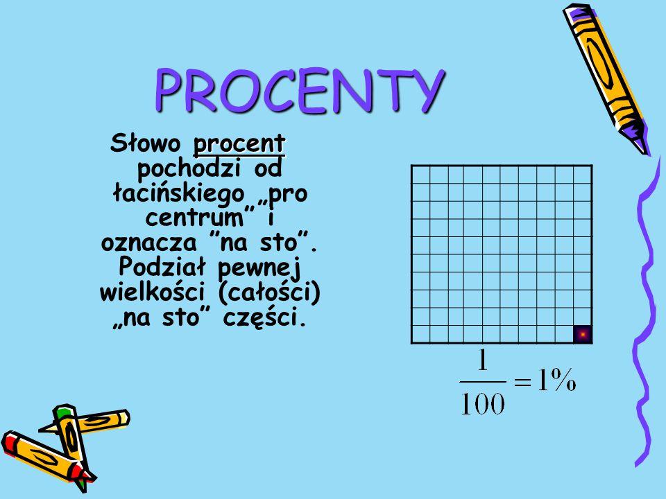 """PROCENTY Słowo procent pochodzi od łacińskiego """"pro centrum i oznacza na sto ."""