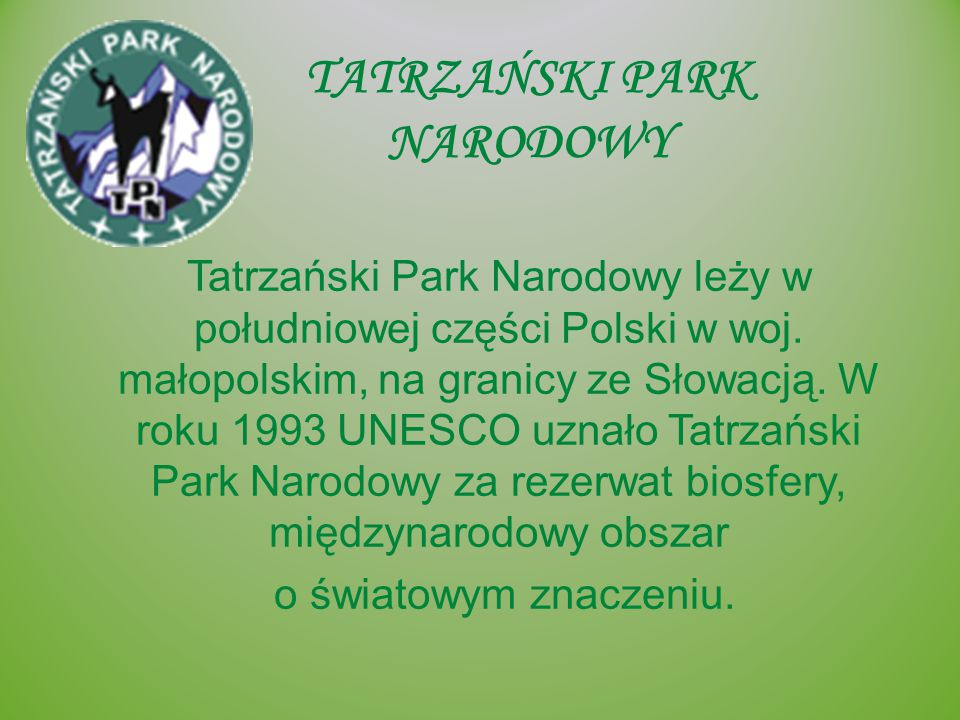 TATRZAŃSKI PARK NARODOWY