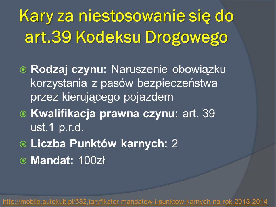 Kary za niestosowanie się do art.39 Kodeksu Drogowego
