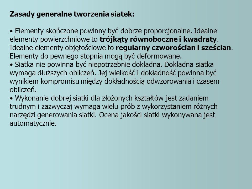 Zasady generalne tworzenia siatek: