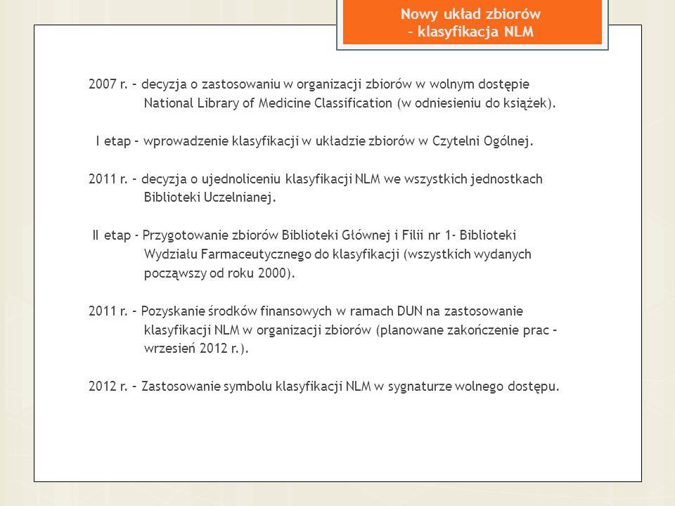 Nowy układ zbiorów - klasyfikacja NLM