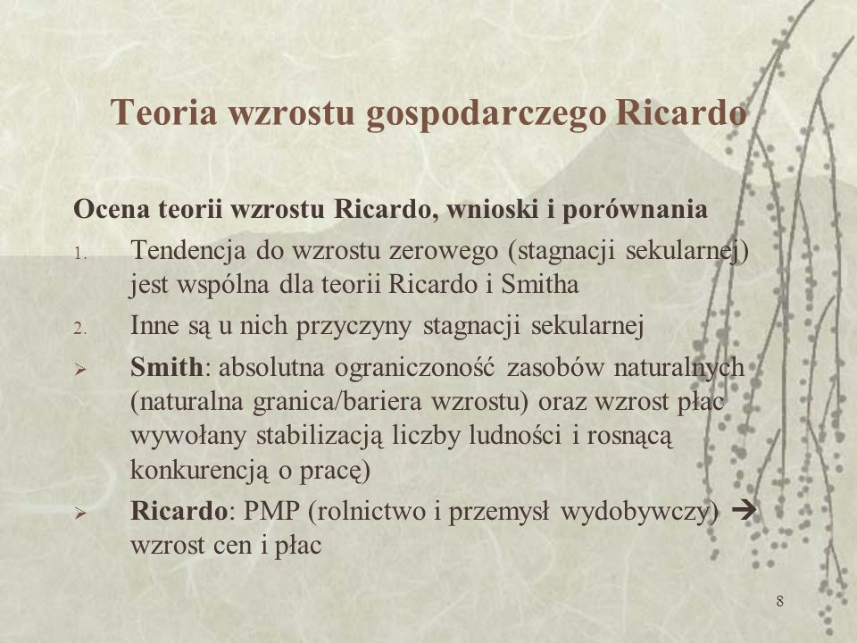 Teoria wzrostu gospodarczego Ricardo