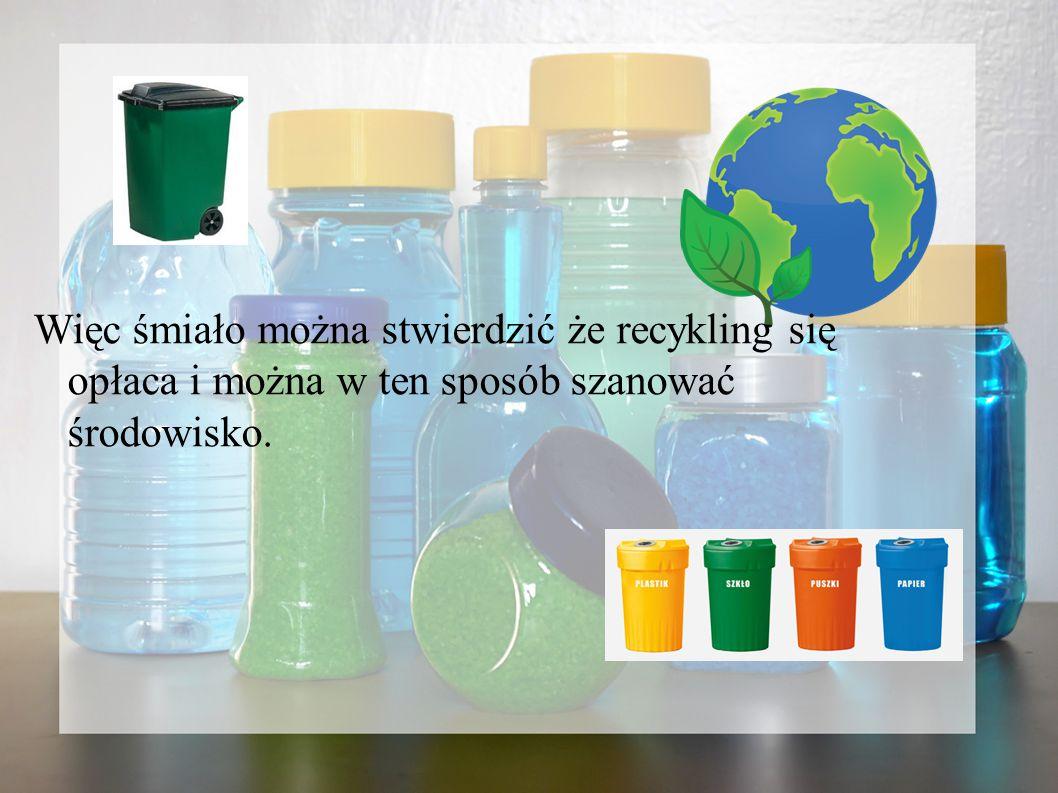 Więc śmiało można stwierdzić że recykling się opłaca i można w ten sposób szanować środowisko.
