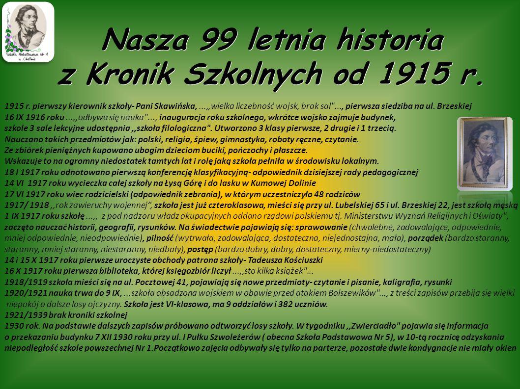 Nasza 99 letnia historia z Kronik Szkolnych od 1915 r.