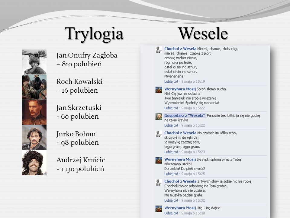 Trylogia Wesele Jan Onufry Zagłoba – 810 polubień Roch Kowalski
