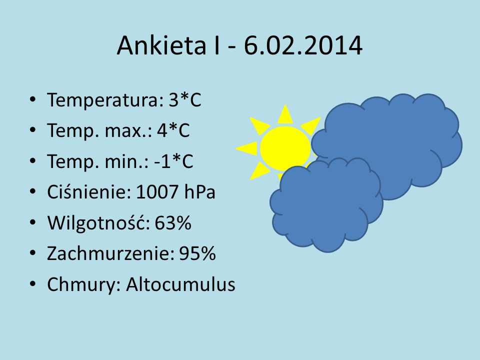 Ankieta I - 6.02.2014 Temperatura: 3*C Temp. max.: 4*C