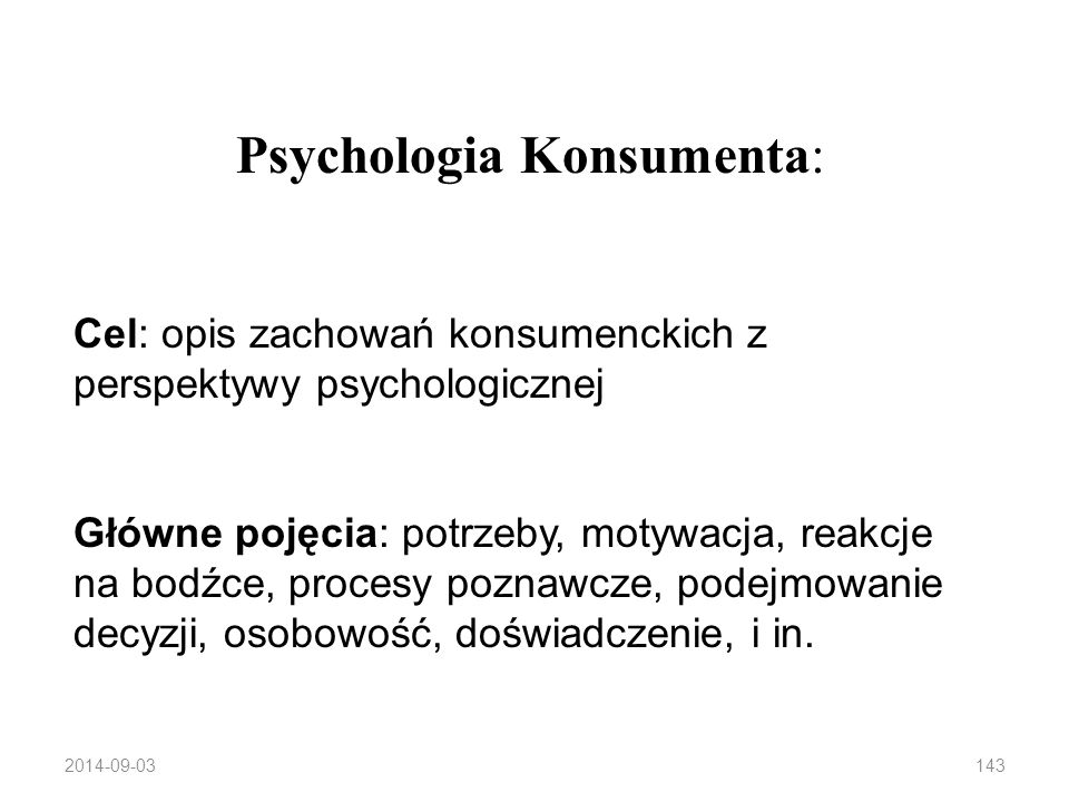 Psychologia Konsumenta: