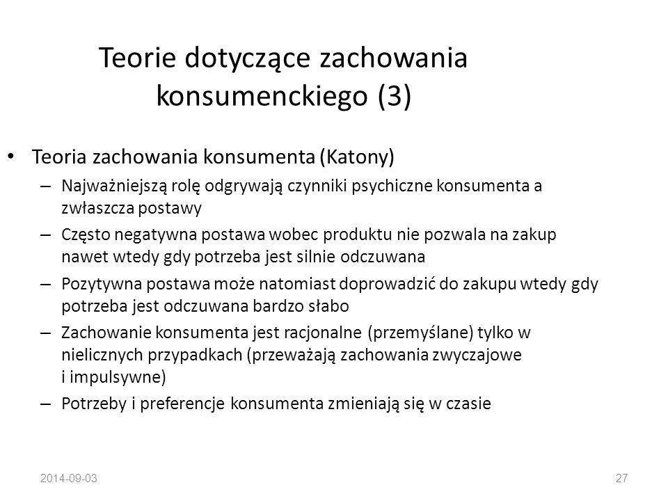 Teorie dotyczące zachowania konsumenckiego (3)