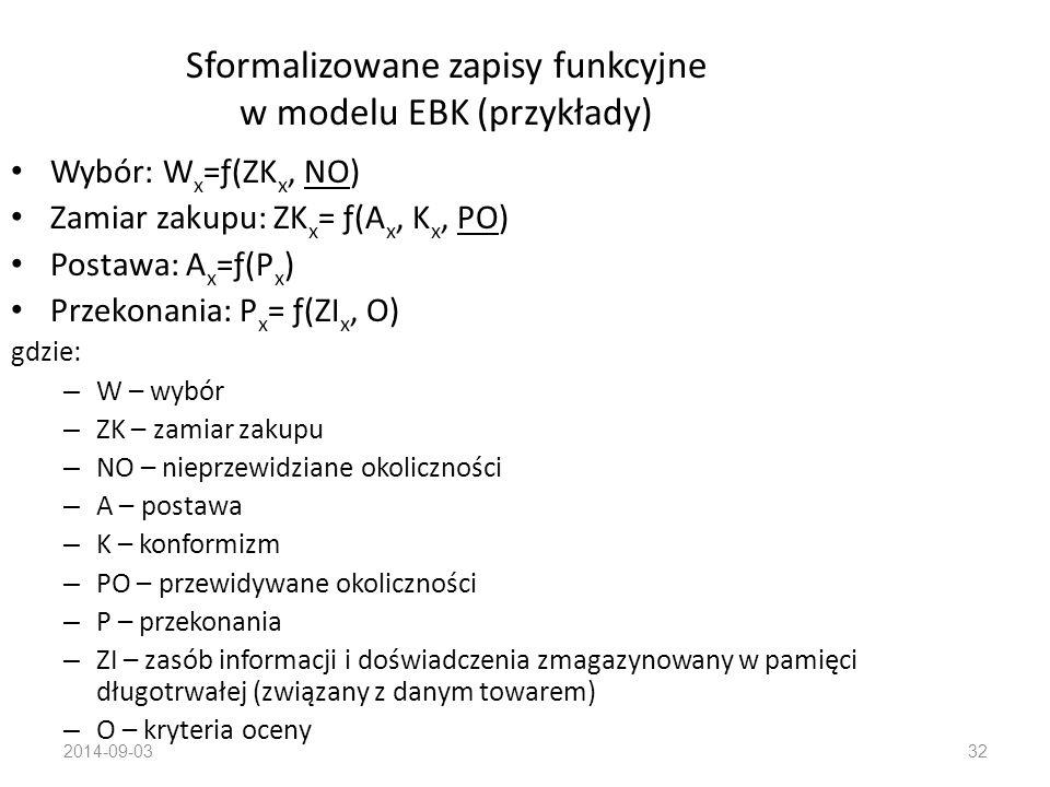 Sformalizowane zapisy funkcyjne w modelu EBK (przykłady)