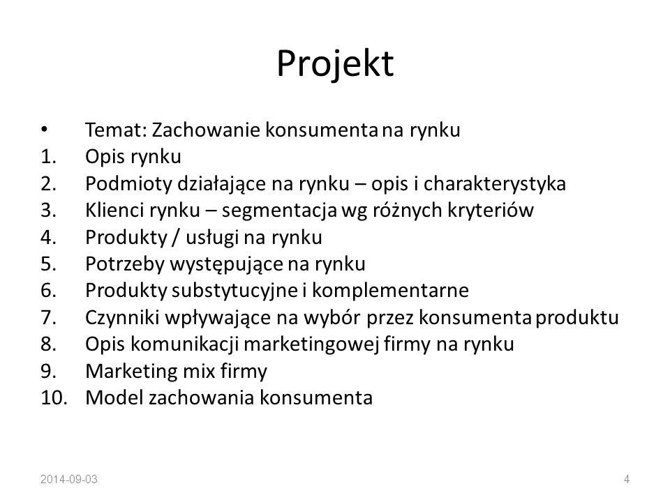 Projekt Temat: Zachowanie konsumenta na rynku Opis rynku