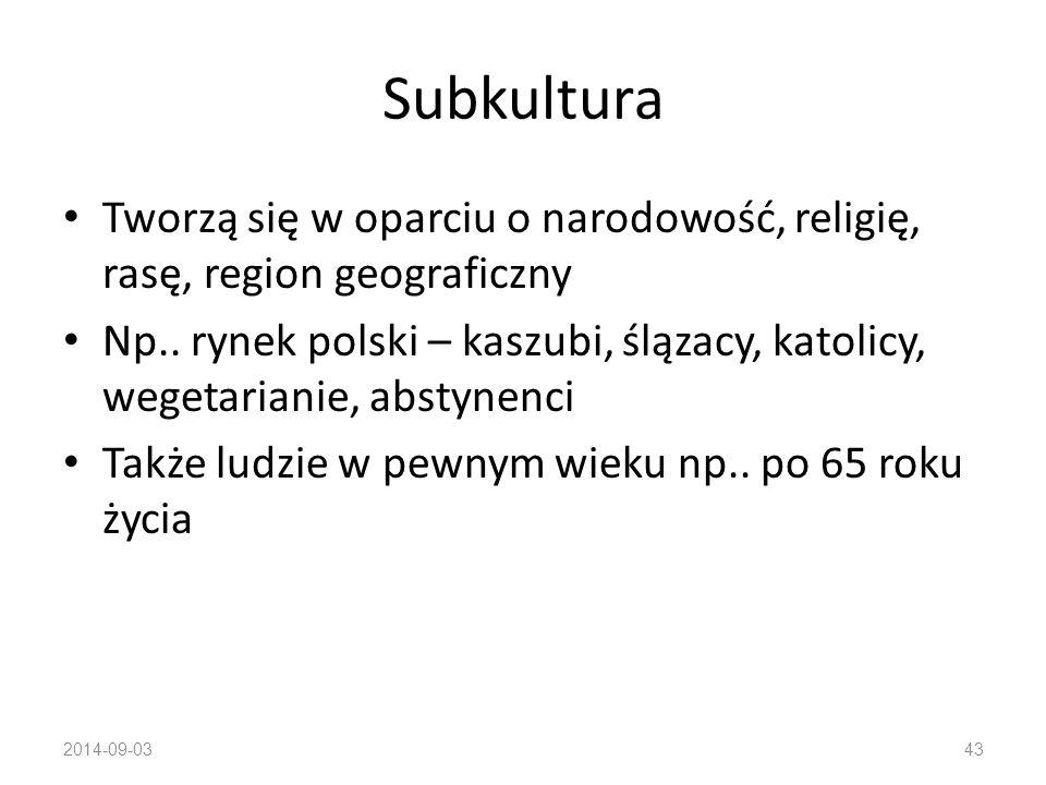 Subkultura Tworzą się w oparciu o narodowość, religię, rasę, region geograficzny.