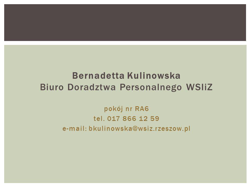 Bernadetta Kulinowska Biuro Doradztwa Personalnego WSIiZ