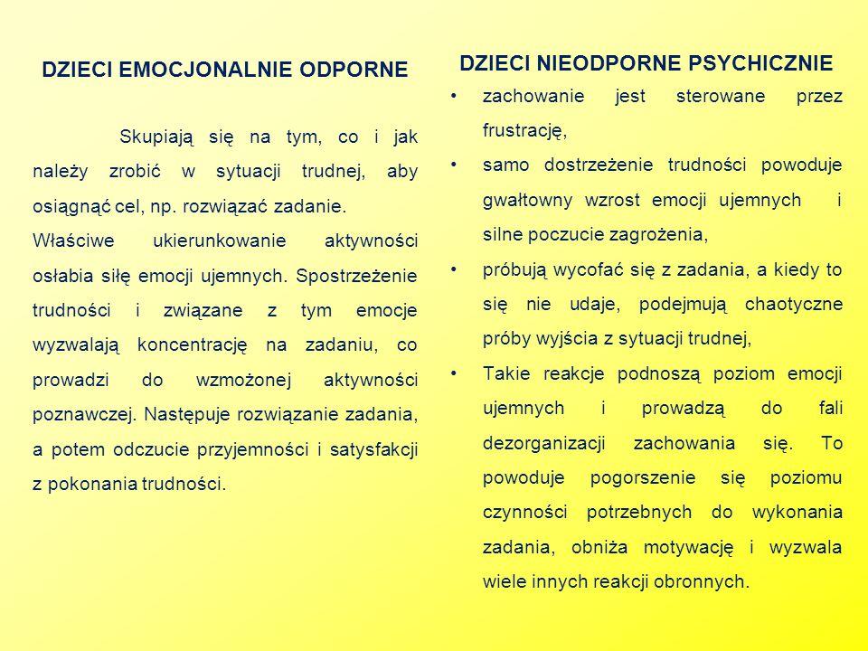 DZIECI NIEODPORNE PSYCHICZNIE DZIECI EMOCJONALNIE ODPORNE