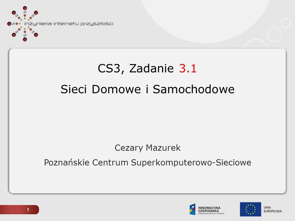 CS3, Zadanie 3.1 Sieci Domowe i Samochodowe Cezary Mazurek Poznańskie Centrum Superkomputerowo-Sieciowe