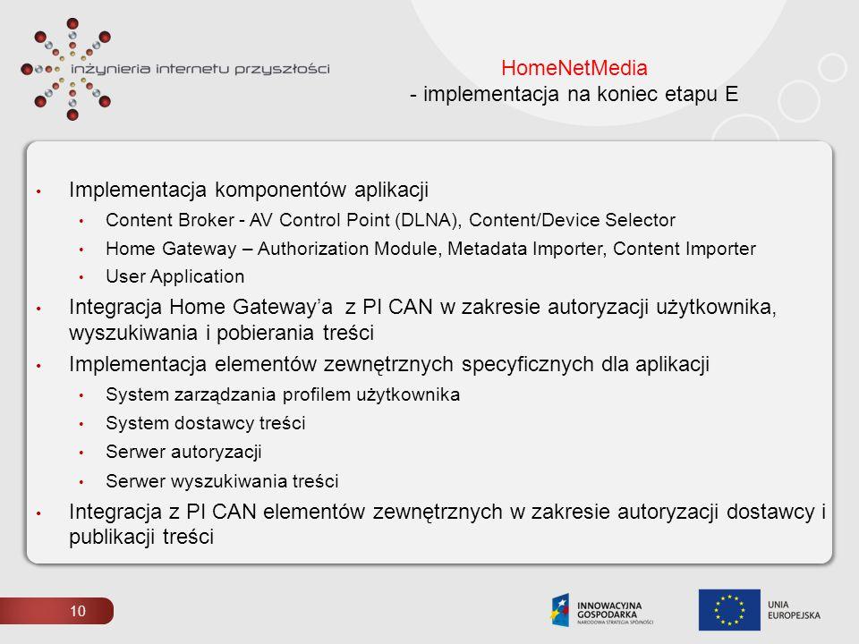 HomeNetMedia - implementacja na koniec etapu E