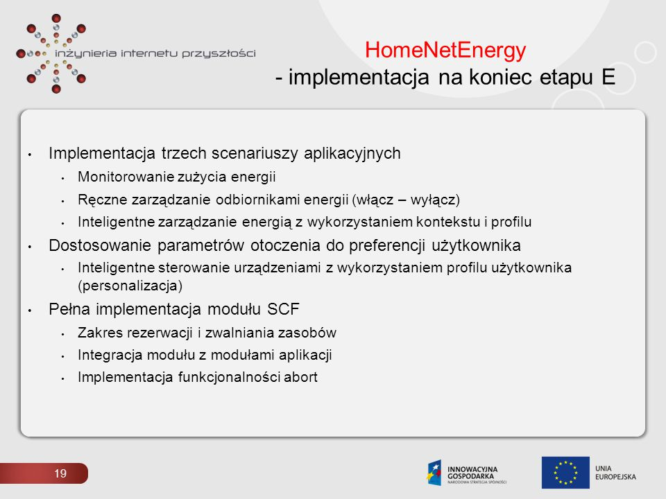 HomeNetEnergy - implementacja na koniec etapu E