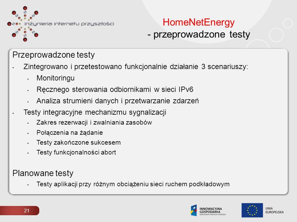 HomeNetEnergy - przeprowadzone testy