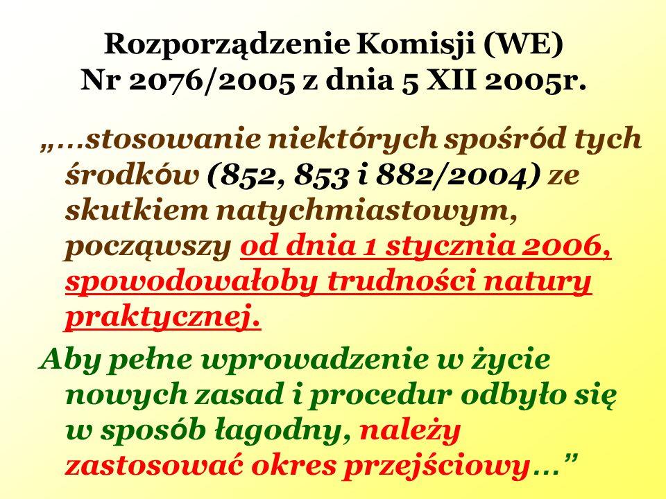 Rozporządzenie Komisji (WE) Nr 2076/2005 z dnia 5 XII 2005r.