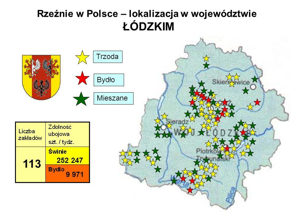 Rzeźnie w Polsce – lokalizacja w województwie ŁÓDZKIM