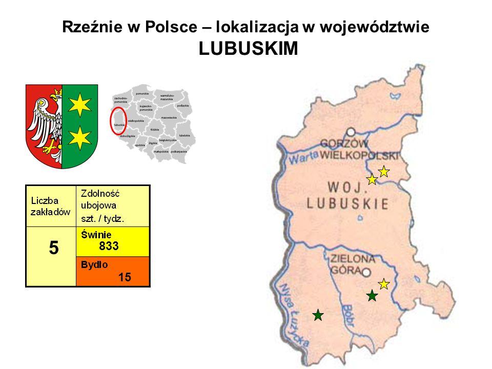 Rzeźnie w Polsce – lokalizacja w województwie LUBUSKIM