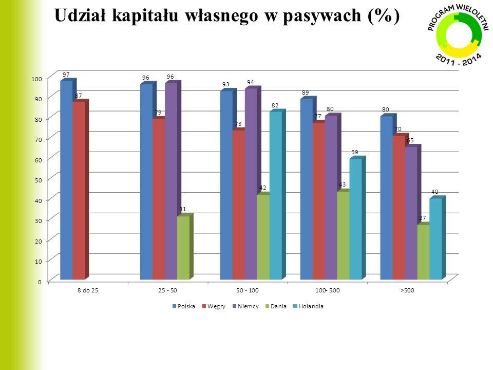 Udział kapitału własnego w pasywach (%)