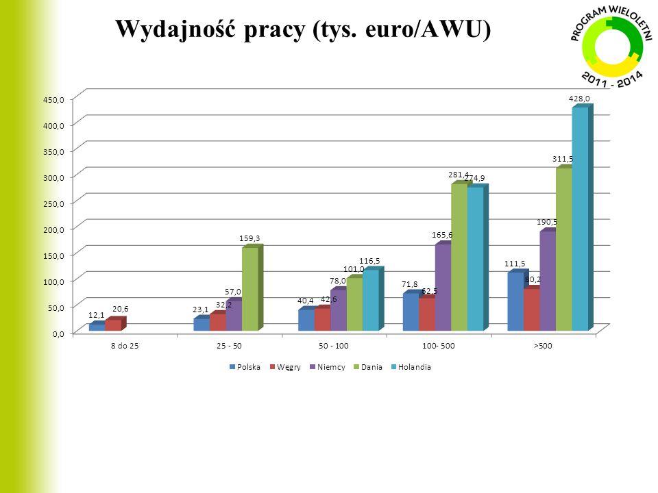Wydajność pracy (tys. euro/AWU)